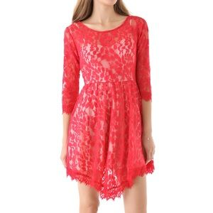 Free People Floral Mesh Lace Dress Red Fitted Mini